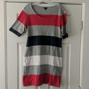 Nautica Large Striped Cotton Short Sleeve Dress